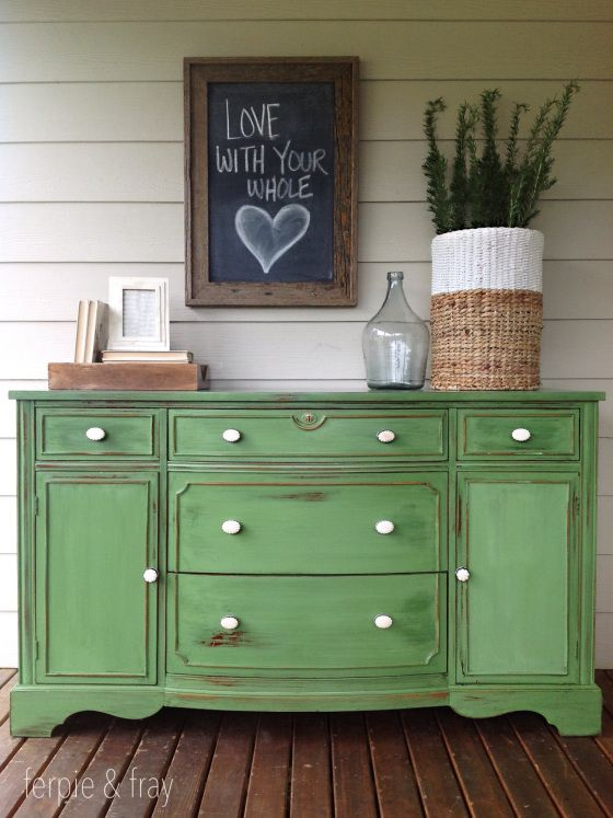 distressed-green-sideboard