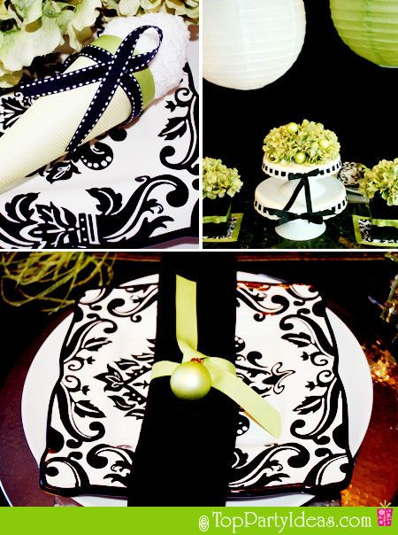 Black Damask Party Supplies with Green Color accents