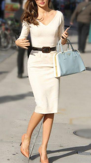 Elegant V-Neck Solid Color 3/4 Sleeve Bodycon White Dress For Women