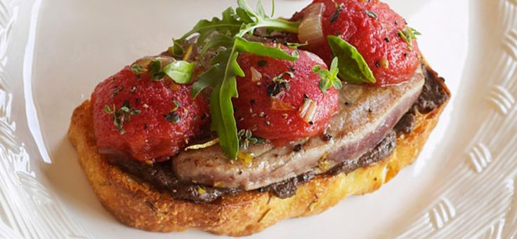 Seared Tuna Minute Steaks with Tapenade and Tomato Confit Hero Image