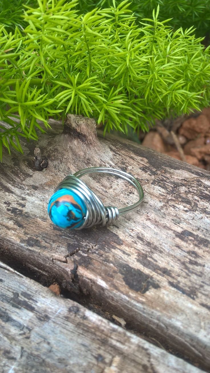 Blue Malachite Stone Ring, Sterling Silver Wire Ring, Bohemian Wire Ring, Natural Stone Bead Ring, Hand Made in South Africa by AhyokaByBernice on Etsy