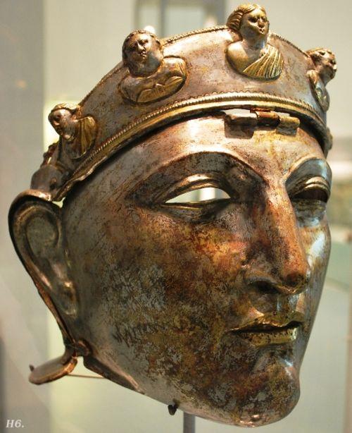 Roman face helmet. 15.B.C. Nijmegen Museum. Netherlands.