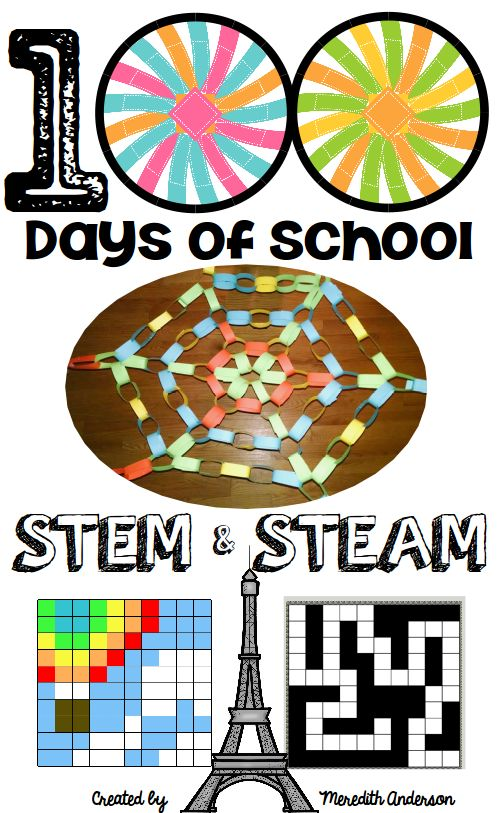 100th day of school STEM and STEAM activities - celebrate 100 days of school by challenging your students with these STEM activities based on the number 100. Includes instructions, sample photos, and ways to make each challenge easier or more difficult. | STEM Activities for Kids by Meredith Anderson