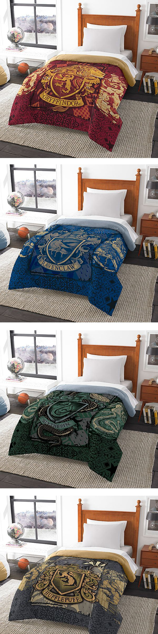 Be a Slytherin under the sheets with this geeky Hogwarts House themed bedding! Harry Potter Wedding Theme Gifts Fantastical Weddings Gifts fantasticalweddings.com Hogwarts Bed-In-a-Bag | Thinkgeek.com
