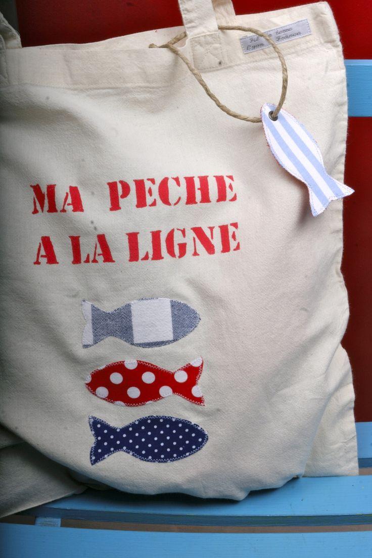 Pêche à la ligne en tissu : sac, 6 poissons, une canne à pêche, étiquette personnalisable : Jeux, jouets par fil-de-terre