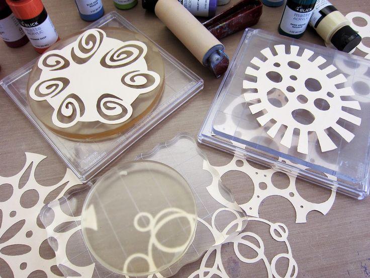 Printing with Gelli Arts®: Dropshadow Technique with Gelli® Plates & ScanNCut Stencils & Masks!