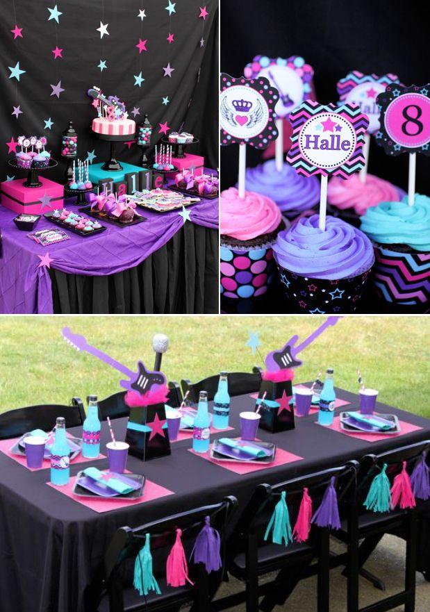 Girly Rockstar themed birthday party via Karas Party Ideas KarasPartyIdeas.com #girly #rockstar #birthday #party #ideas #decorations