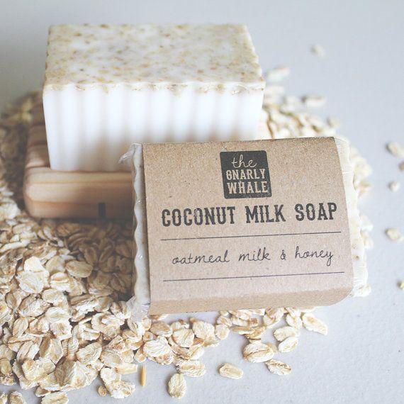 Coconut Milk Soap: Oatmeal Milk and Honey Scent - Vegan / Eco-Friendly