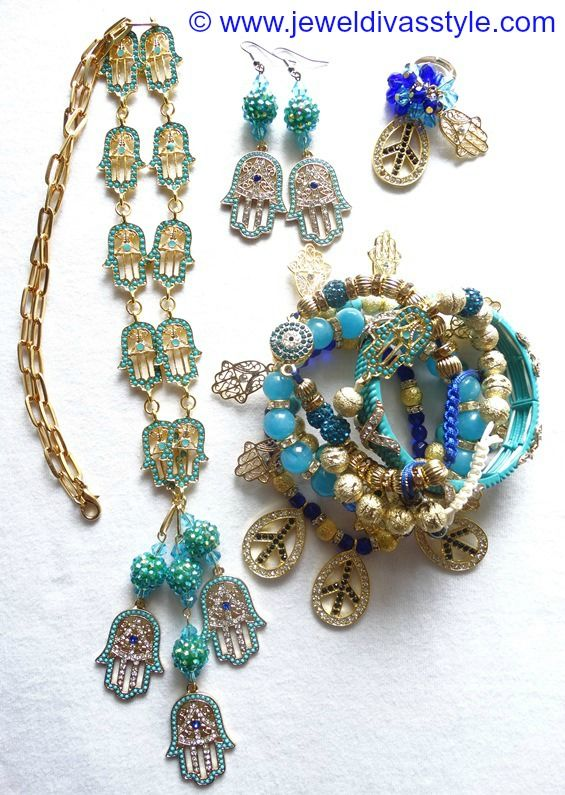 JDS - JEWEL DIVAS BLUE HAMSA HAND JEWELLERY SET - http://jeweldivasstyle.com/my-personal-collection-jewellery-ive-made-or-remade-over-the-last-few-months/