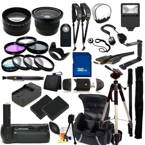 The EVERYTHING YOU NEED Package for Nikon D5100, Nikon D5200 Digital SLR Cameras. Includes: Wide Angle & Telephoto...