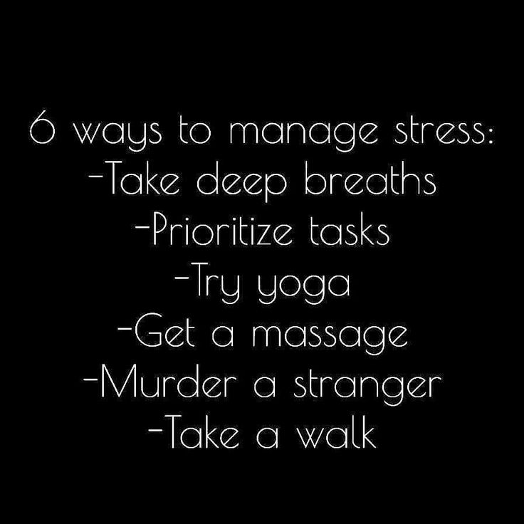 Obviously you wouldn't murder a person to get rid of stress. This is sarcasm and should be interpreted as funny.