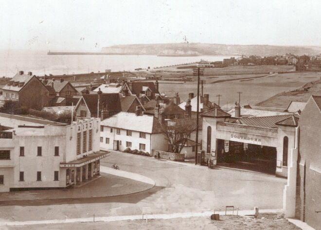 Ritz Cinema ant the Old Southdown bus depot just out of veiw on the right the entrance to Seaford Town Council works yard, the space at the bottom was WW2 bomb damage now rebuilt as flats. ( Picture by courtesy of Seaford Museum )