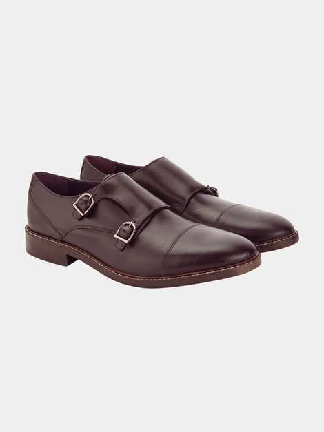 Burgundy Leather Monk shoes - Mens Formal Shoes - Shoes & Accessories - Burton