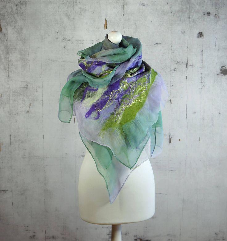 nuno felted silk scarf shawl, felted shawl, felted scarf, wool scarf, wrap scarf - Feltmondo by Feltmondo on Etsy