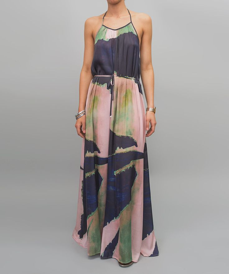 Navy Blue Origami Abstract Open Back Halter Maxi Dress | zulily