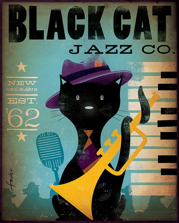 Black cat Jazz Bar original graphic illustration on canvas 12 x 16 x 1.5 by Stephen Fowler