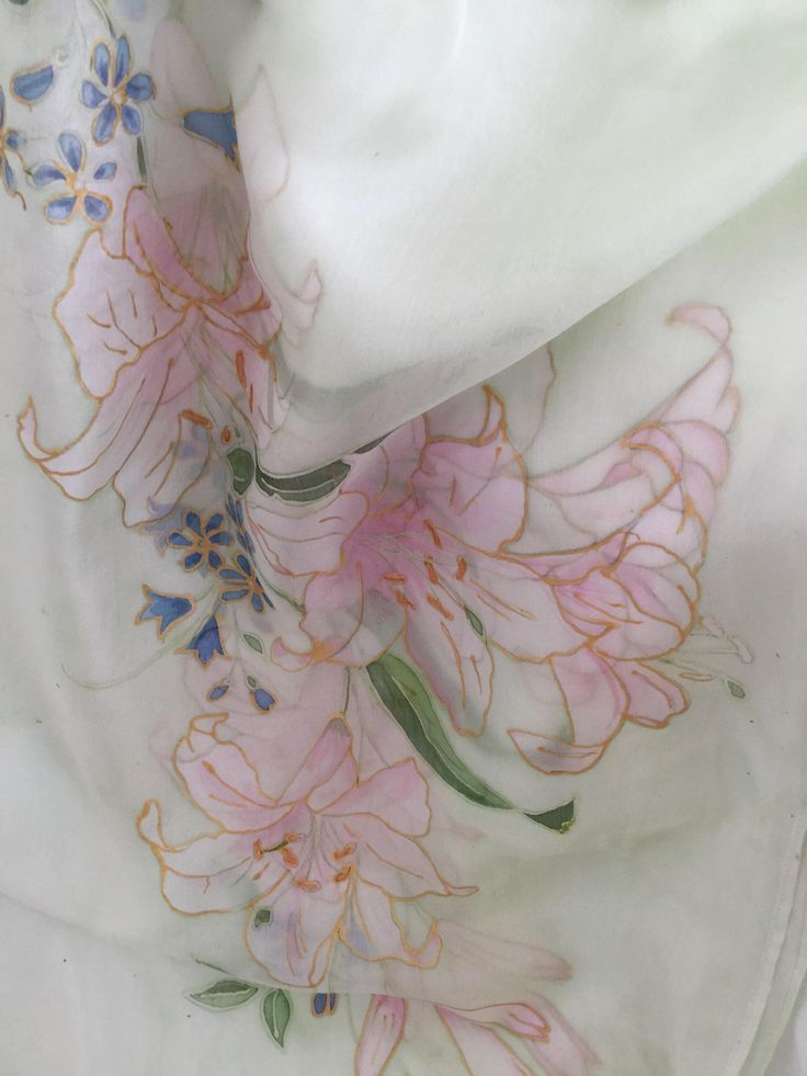 Lilies flowers silk scarf hand painted 21/70 inch .100% silk find more of my work here-https://www.etsy.com/listing/569005172/lilies
