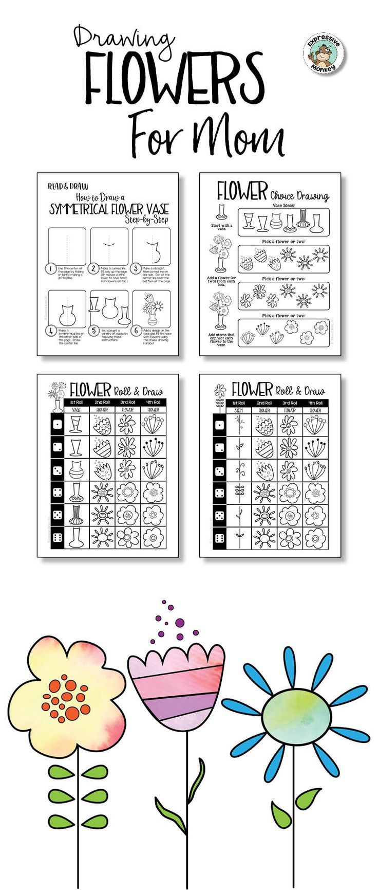 Step-by-step instructions to draw a symmetrical vase with lots of options for filling it with flowers.