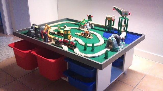 Ikea shelves used to make a play table, for trains, Lego, anything.Wall Storage, Kids Room, Training Tables, Lego Tables, Trofast Plays Tables, Playrooms, Ikea Hacks, Ikea Hackers, Toys Storage