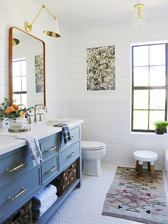 14 Small Bathroom Makeovers That Make The Most Of Every Inch In 2020 Kids Bathroom Makeover Small Bathroom Makeover Kid Friendly Bathroom