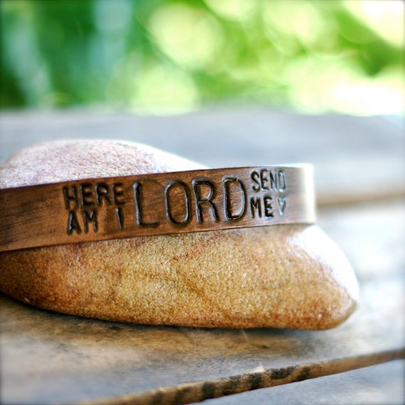 Here Am I LORD SEND ME Leather Cuff Bracelet. ALL proceeds go towards their adoption. *leather $15.00