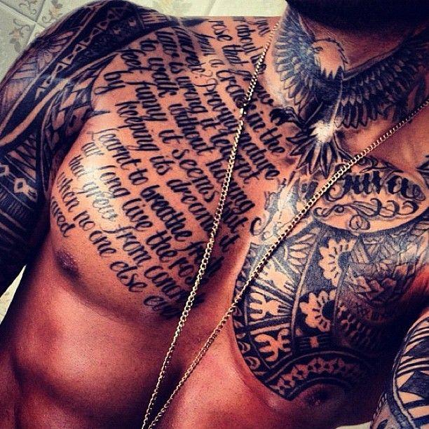 Tough ass chest tattoo