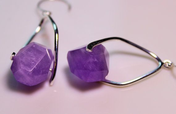 Faceted Raw Amethyst  with Twisted Silver Bails by OllieBooJewelry, $20.00