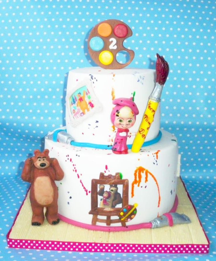 Masha and the bear painting - Cake by Rositsa Lipovanska
