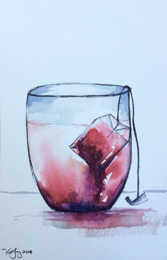 Tea cup watercolor painting- original watercolor painting, kitchen artwork, steeping tea bag