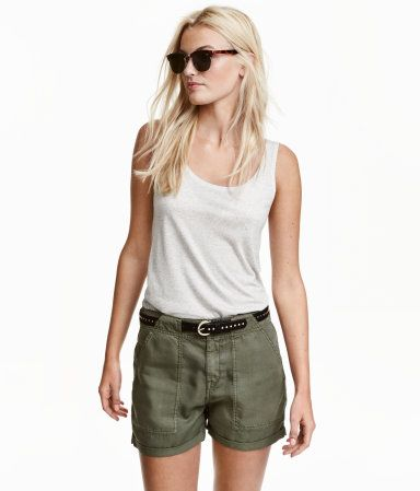 $29.99. Shorts in soft washed twill made from Tencel® lyocell with side pockets, welt back pockets and sewn-in turn-ups at the hems.