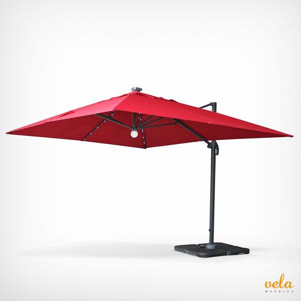 Bonita sombrilla excéntrica rectangular con LED incorporado. Original y cómoda.