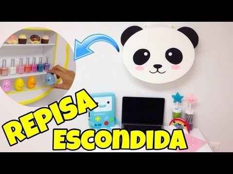 Repisa escondida(Manualidades faciles y originales)Oso panda Kawaii - YouTube