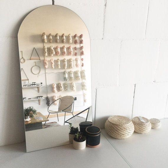 Modern Frameless Leaning Racetrack Table Vanity Mirror