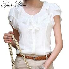 5XL Plus Velikost Letní New Women módní Krátký rukáv Volánky šifon Solid White topy Blusas příležitostné letní halenky košile (Čína (pevninská část))