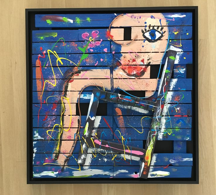 WOMAN ON CHAIR, 105 x 110, scrap wood, part of garden bench, acrylic paint - framed