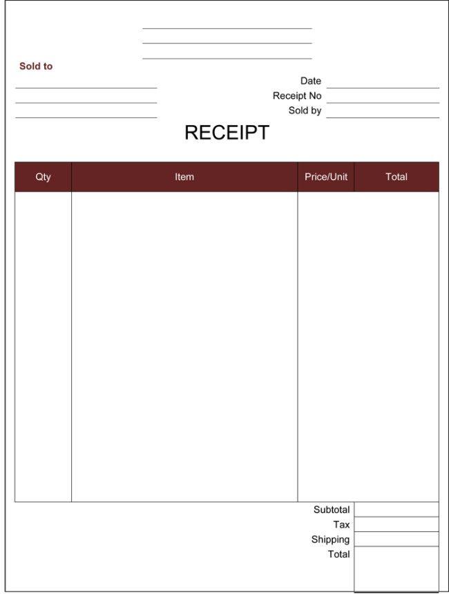 Blank Receipt Template Free