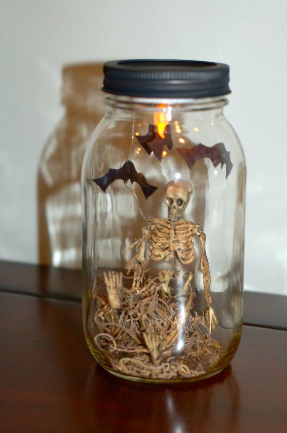 mason jar halloween dcor got cheap mini skeletons - Cheap Decorations For Halloween