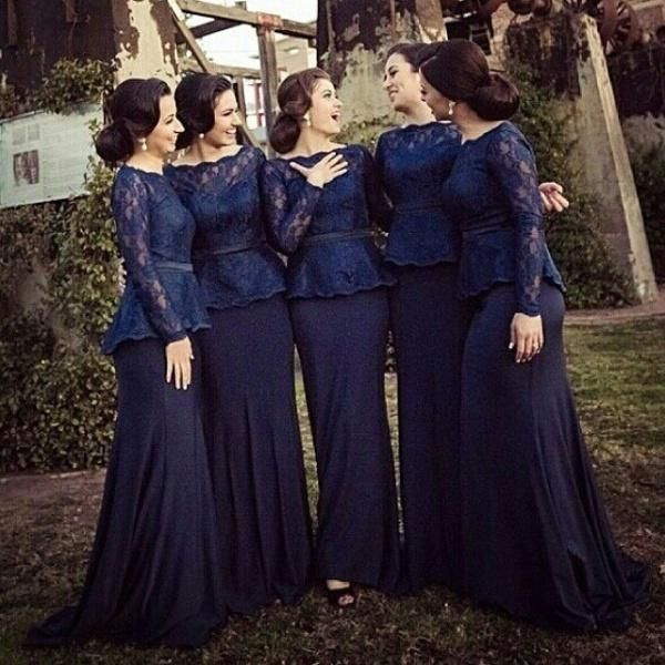 Cheap Chiffon Bridal Party Prom Celebrity Evening Gowns 2015 Dark Navy Blue Royal Long Sleeves Bridesmaid Evening Dresses Peplum With Lace Satin Bridesmaid Dresses Short Bridal Dresses From Myweddingdress, $109.43| Dhgate.Com