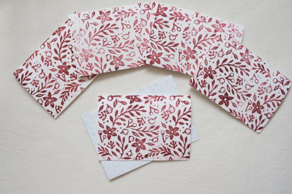 Pack Flowers Leaves card set of five (5) Floral Botanical Foliage Plants pattern Block printed hand printed note cards in maroon red ink.