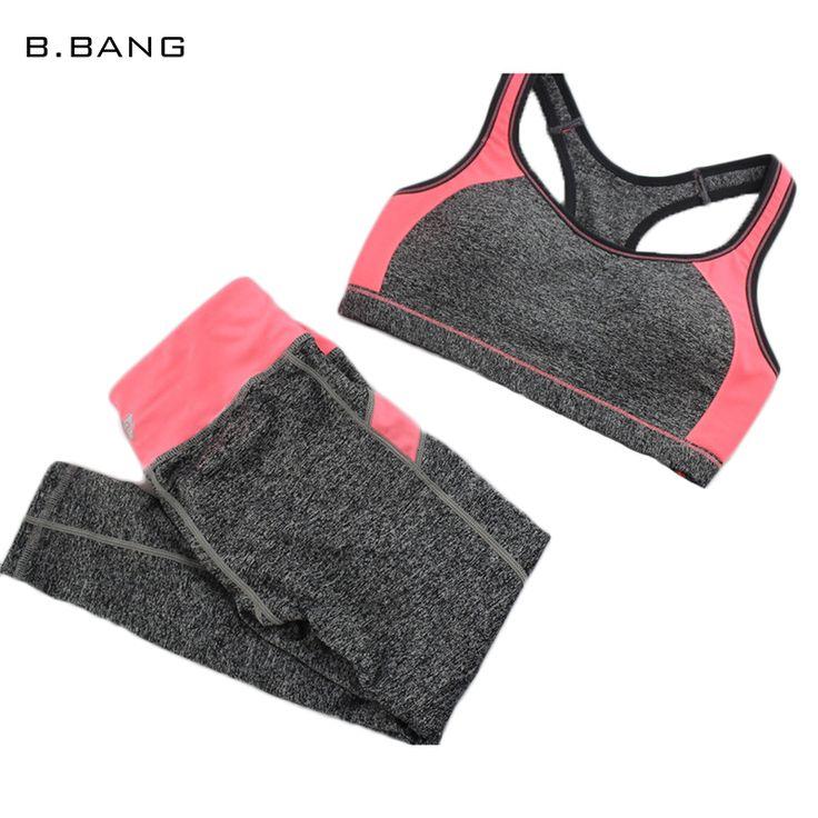 B. BANG Nuevos Conjuntos de Sujetador Sin Costuras Superior y Elástica Capris Ocasionales de Las Mujeres de Moda Patchwork Trajes 1 Unidades