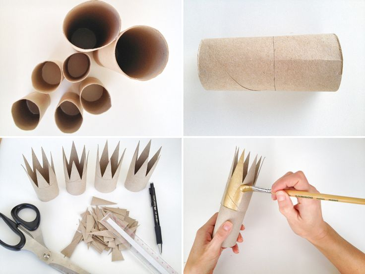 toilet paper rolls, elastic and paint make top hats and crowns