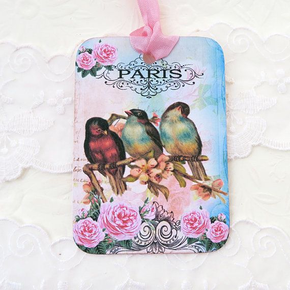 Bird Tags Gift Hang French VIntage-Tea Party by EnchantedQuilling