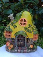 Miniature Dollhouse FAIRY GARDEN ~ BEACH Party PEAR Fruit House with LED Light
