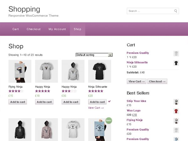 Shopping is a Free e-Commerce theme for WooCommerce, the most popular e-Commerce plugin for WordPress.