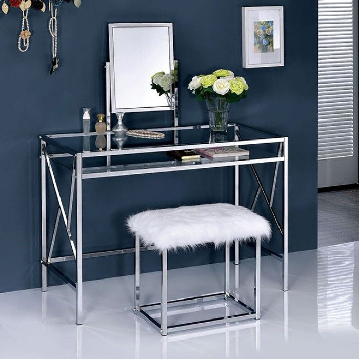 130 best vanitys images on pinterest vanity stool for Furniture of america ailees contemporary glam 2 piece vanity table set with faux fur stool