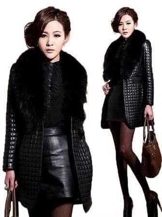 Women Long Sleeve PU Leather Fake Pocket Fur Collar Jacket