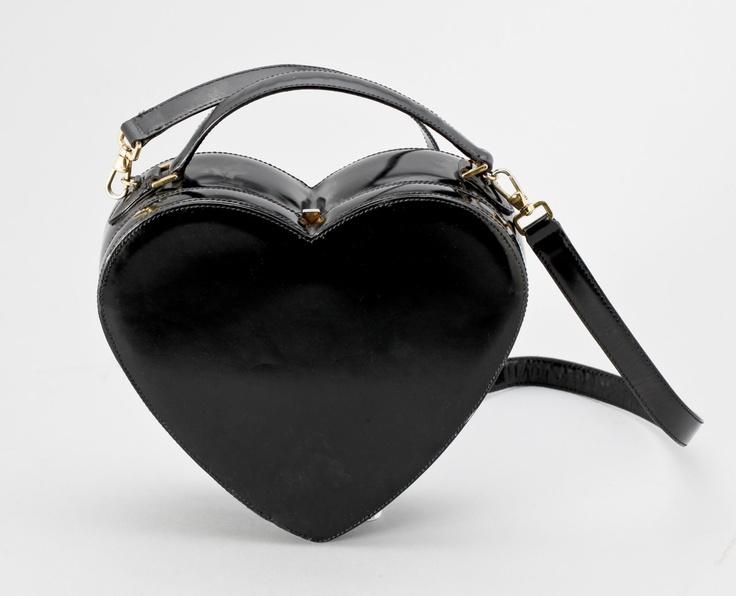 Black Patent Leather Heart Handbag by Moschino