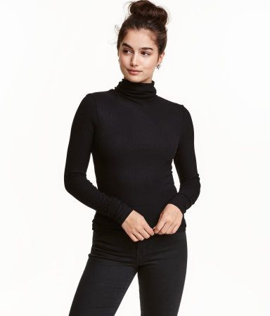 Black. Fitted turtleneck top in rib-knit jersey with long sleeves.