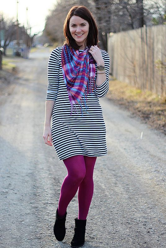 purple tights with black and white dress