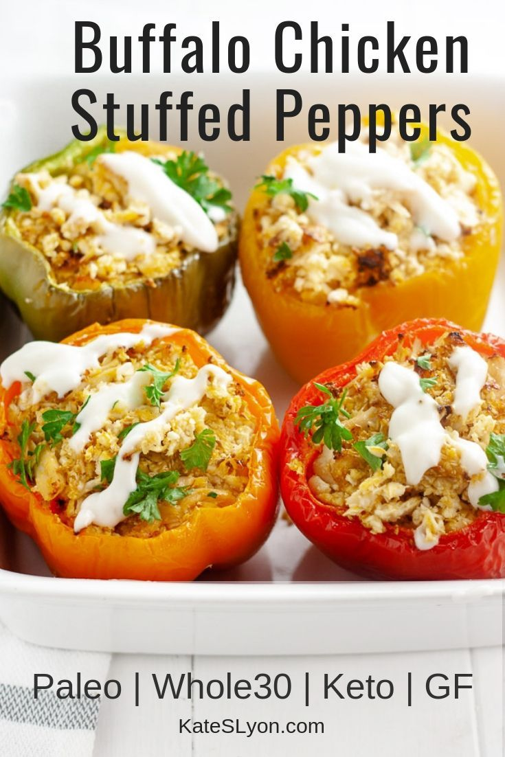 Buffalo Chicken Stuffed Peppers Kate S Lyon Recipe Stuffed Peppers Chicken Stuffed Peppers Peppers Recipes